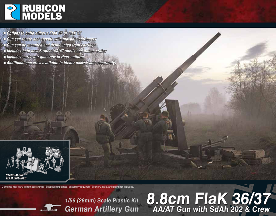 Rubicon Models 8.8cm FlaK 36/37 AA/AT Gun with SdAh 202 & Crew