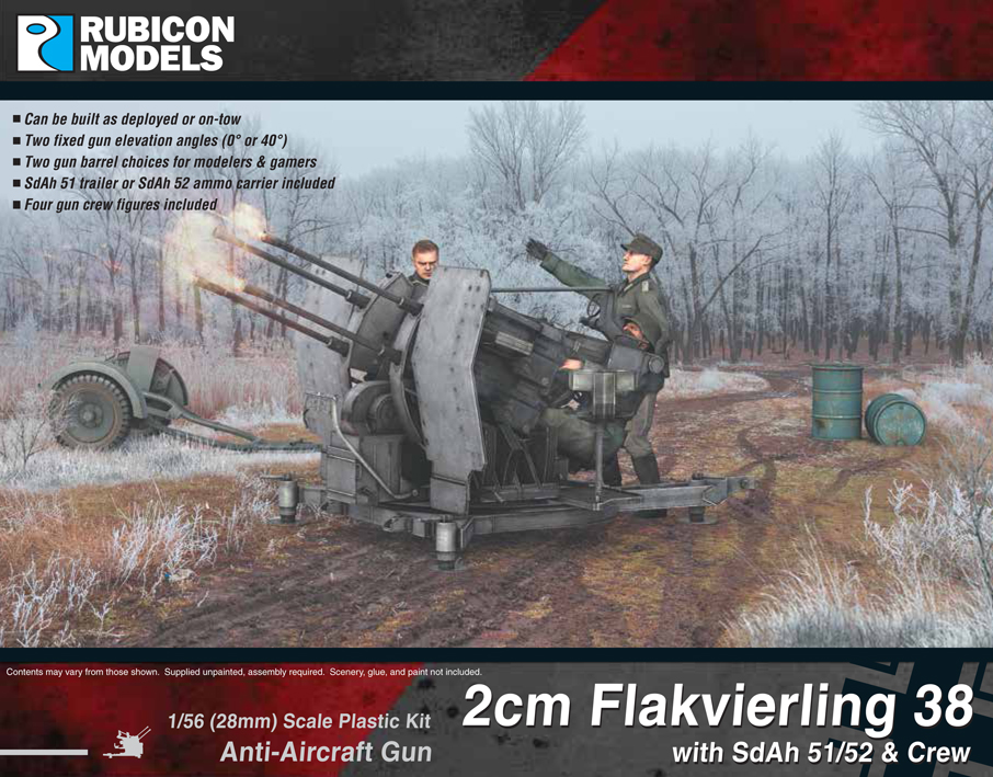 Rubicon Models 2cm Flakvierling 38 with SdAh 51/52 Trailer & Crew