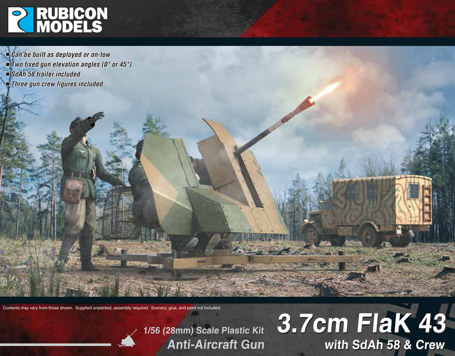 Rubicon Models 3.7cm FlaK 43 with SdAh 58 Trailer & Crew